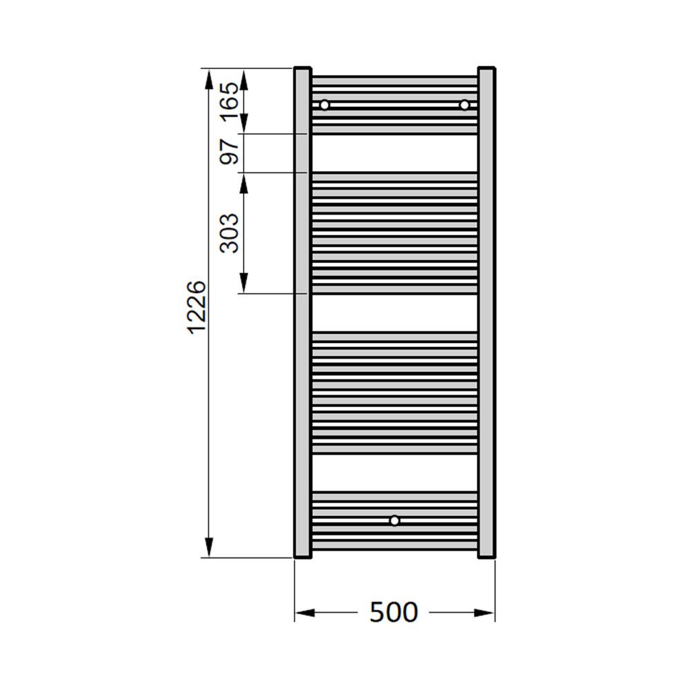Электрический полотенцесушитель Zehnder Virando 500х1226 с теном HEC черный матовый