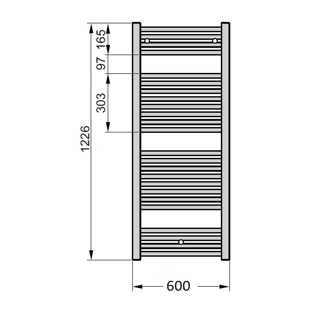 Электрический полотенцесушитель Zehnder Virando 600х1226 с теном HEC с/м белый